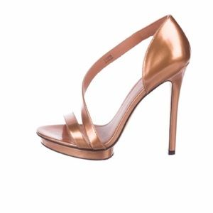 Rose Gold Metallic Leather Sandals; 5""